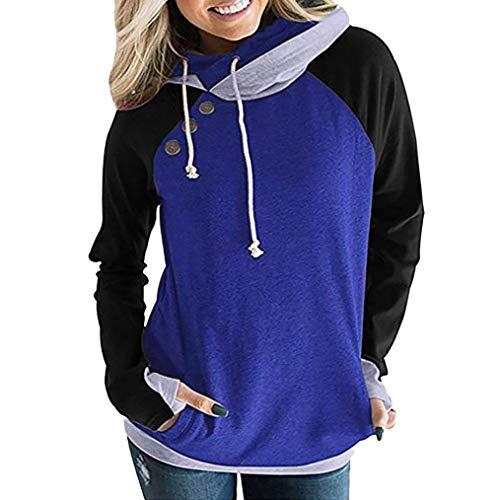 af63f3f040566e MEIbax Damen Herbst Langarm Hoodie Pullover Button Top Sweatshirt  Rollkragenbluse Oberteile Tunika