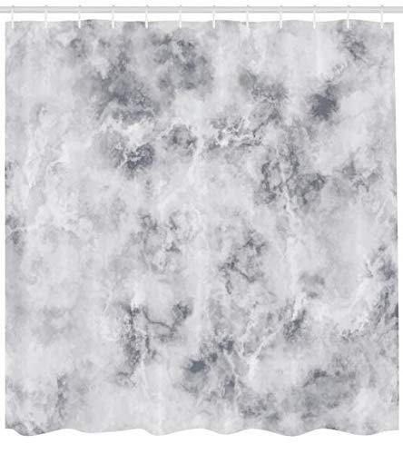 ABAKUHAUS Marmor Duschvorhang, Granit stürmt Details, Set inkl.12 Haken aus Stoff Wasserdicht Bakterie und Schimmel Abweichent, 175 x 200 cm, Blass Grauer Staub -