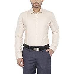 Van Heusen Mens Slim Collar Printed Shirt_Beige_40_203707815_9303