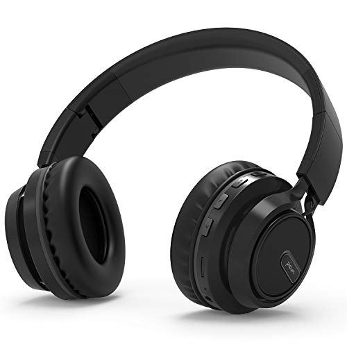 Bluetooth Kopfhörer BAONUOR Kabelloser Kopfhörer mit Kräftigen Bass-Sound, 24 Stunden Spielzeit, Beleuchtung Effekt, Mikrofon Freisprechen für Smartphone/PC, Schwarz -