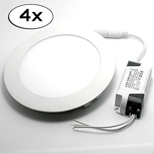 4x LED Panel Rund Leuchte Dimmbar Warmweiß 6W Led Deckenleuchten Einbauleuchte 390LM Entspricht Einer 40W Glühbirne