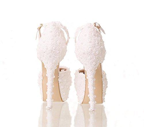 Sí Y Los Zapatos De La Boda De Las Mujeres / Vestido De Dama De Honor Y Novia / Novedad Pu / Encaje De Flores / Tacón De Aguja / Punta Redonda / Sandalias De Tacón Alto 1 #
