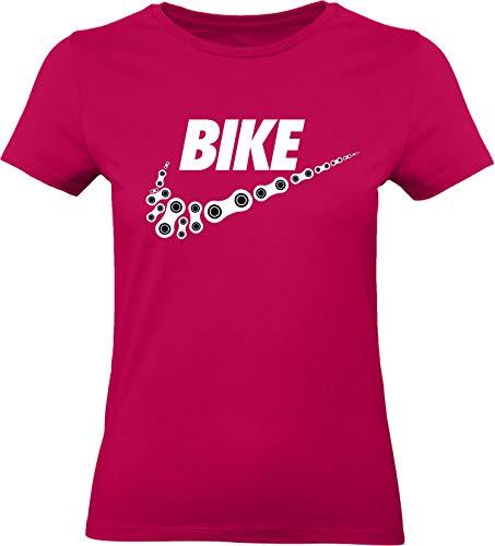 Damen Fahrrad T-Shirt: Bike - Tailliert - Fahrrad Geschenke für Frauen - Radfahrerinnen - Mountain-Bike - MTB - BMX - Fixie - Rennrad - Tour - Outdoor - Sport - Frau - Urban City Streetwear - Fun (L)