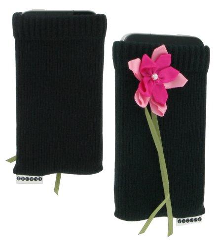 Trendz TZSKBPRF Universal Socke für Apple iPhone/iPod und MP3 schwarz mit pink Ribbon Blume
