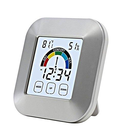 Kobwa en8806Digital Hygrometer Luftfeuchtigkeit Innen Thermometer Luftfeuchtigkeit Monitor mit Temperatur, Zeit Display, Alarm und Zielscheibe, Komfort Füllstandsanzeige für Schlafzimmer Wohnzimmer - 12 Gauge Ziel