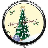 LinJxLee Merry Christmas Tree Round Pill Case Pill Box Tablet Vitamin Organizer Easy to Carry preisvergleich bei billige-tabletten.eu