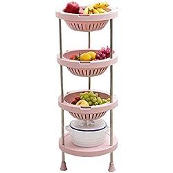 Tablettes de rangement élégantes modernes à 4 niveaux, cadre de classement rose pâle, corbeille ronde en plastique avec support de rangement en acier inoxydable, type de sol Piles de cuisine amovibles
