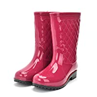 Rain Welliec Boots For Women,Fashion Creative Waterproof Non-Slip Mid-Tube Red Mirror Rain Shoes For Lady Outdoor Travel Grassland Music Festival Clothes Wild