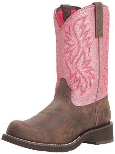 Ariat Women's Fatbaby Heritage Tall Boot, Toasted Brown/Bright Pink Crackle, 6.5 B US -