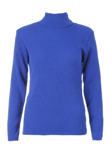 Fast Fashion Damen Jumper Gerippten Rollkragen Gestrickt (Eine Größe (EUR 36-42), Königsblau) - Blaue Gerippten Rollkragenpullover