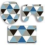Olydmsky Set de Color geometría baño Tres Piezas Alfombra baño Cubierta en Forma de o cojín en Forma de U Antideslizante Mat