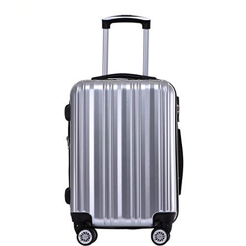 Münicase- Hartschalen Koffer Reisekoffer Trolley Rollkoffer Polycarbonat TSA-Schloß Kofferset Gepäckset (Silber, Mittler Koffer (ca.66cm))