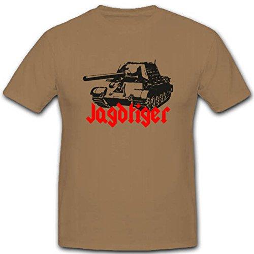 Copytec Jagdtiger Panzerwagen WH Panzer Militär Fahrzeug Sonderkraftfahrzeug Bundeswehr Militär Heer Wappen T Shirt #2789, Farbe:Sand, Größe:Herren XXL