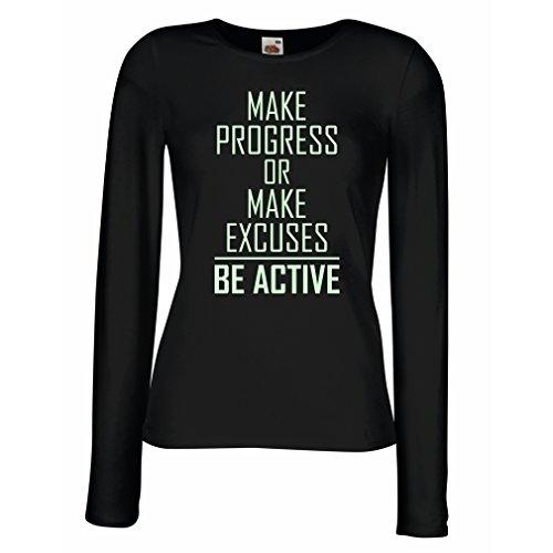 """Weibliche Langen Ärmeln T-Shirt """"Be Active - Leben ohne Ausreden"""" - Motivation - inspirierend tägliche Angebote für Erfolg (Small Schwarz Fluoreszierend)"""