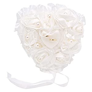 Kofun Ehering Kissen, Schöne Rose Perle Herz Hochzeit Tasche Ringkissen Kissen Fotografie Requisiten