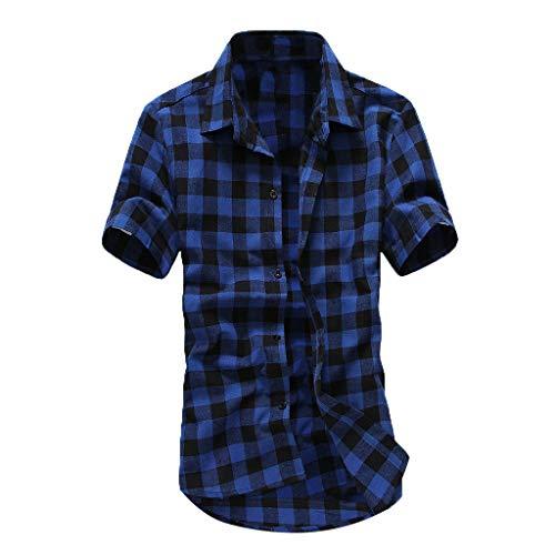 (MAYOGO 2019 Mode Kariertes Tshirt Herren Kurzarm Shirt Lässige Bekleidung Poloshirts Hemden Tops mit Knopf)