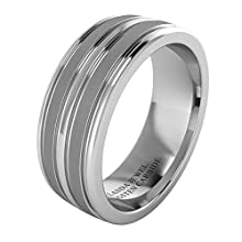 Super Heavy Tungsten Carbide 8mm Comfort Fit Wedding Band for Men Four Grooves Court Shape Brushed and Polished Finishing (Z+2)