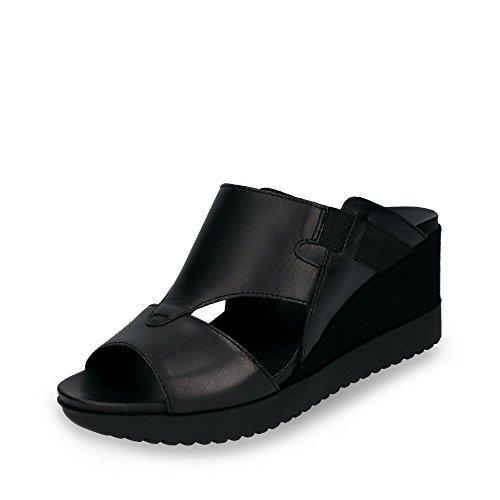 Aerosoles Go Indigo Cashmere Black Damen Pantolette mit Gummizügen Keilabsatz, Groesse 6 1/2, Schwarz