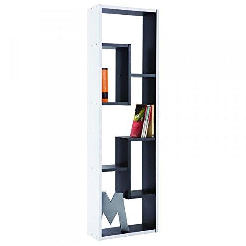 Regal schwarz / weiß Holz Standregal Wandregal CD Bücherregal Aufbewahrung Jugendzimmer Kinderzimmer Büroregal Ordnerregal