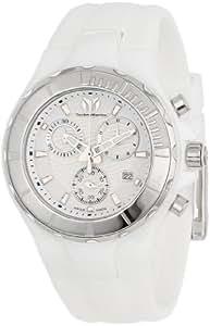 Technomarine Unisex Quartz Watch with White Dial Chronograph Display and White Silicone Strap 110030