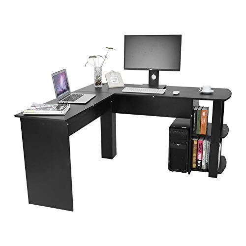 SOULONG Computertisch Tisch Schreibtisch,L-Form Eckschreibtisch Computertisch Winkelschreibtisch Bürotisch Mit Regal aus Spanplatte Schwarz -