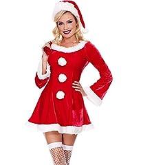 Idea Regalo - MissFox Costume Da Babbo Natale Donna Miss Santa Per Natale Feste O Party Rosso