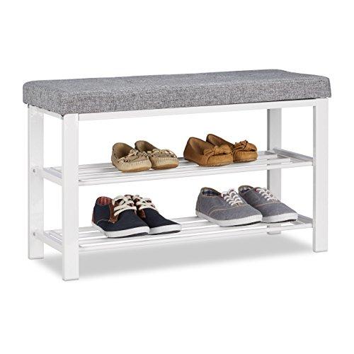 Relaxdays Schuhbank, gemütliches Sitzpolster mit Stoffbezug, offen, 2 Ebenen für Schuhe, Metall, HBT: 50x81x32cm, grau