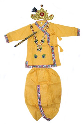 Krishna Dress for New born baby by The Holy Mart | Gopal dress set for 0-6 months baby with Jewellary