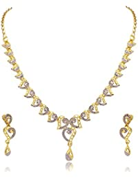 Atasi International Desginer Two Tone Solitaire Necklace Set For Women