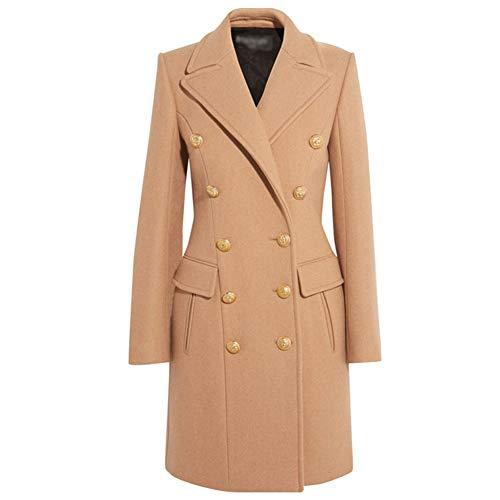 IOSDH8 Ankunft Wintermantel für Frauen Elegante Zweireiher Military Style Camel Blends Lange Jacke, L, Kamel (Military Style Für Jacken Frauen)