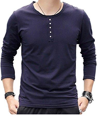 BOMOVO Herren Schlank Rundhals feste Farbe Longsleeve Langarmshirt Blau