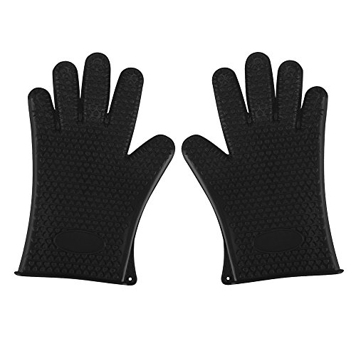 SHiZAK 2pcs Kitchen Silicone Heat Resistant BBQ Oven Gloves or Grill Pot Holder for Cooking Barbecue Grilling Boiling - Excellent Oven Mitts For Outdoor and Kitchen Use (Black)