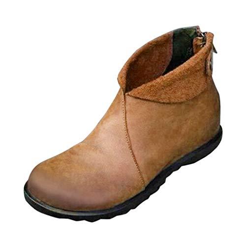 Sanahy Damen Stiefeletten aus weichem Leder, Stiefeletten Herbst Vintage Schnürschuhe Damen Schuhe Bequeme mit flachem Absatz Reißverschluss Kurzer Stiefel