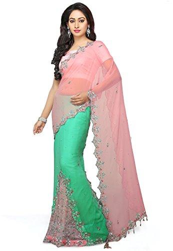Utsav Fashion Georgette Saree (Suf5733_Pink&Teal Green)