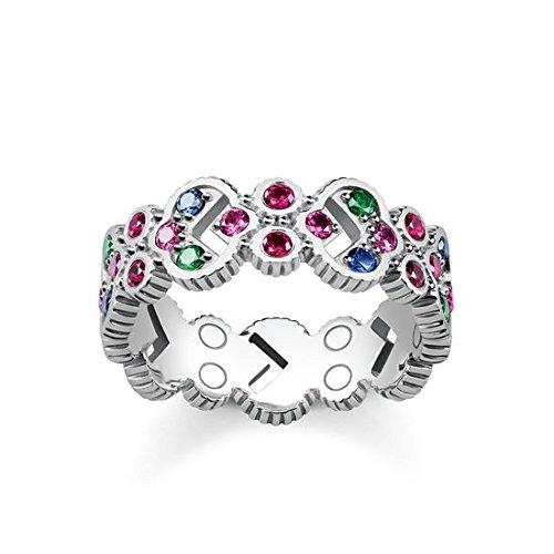 Thomas Sabo Damen-Ringe 925 Sterling Silber Künstliche Perle \'- Ringgröße 48 (15.3) TR2146-322-7-48