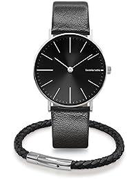 Lambretta Mens Gents Cesare 42 Black Wrist Watch Jewelry Duo Kit