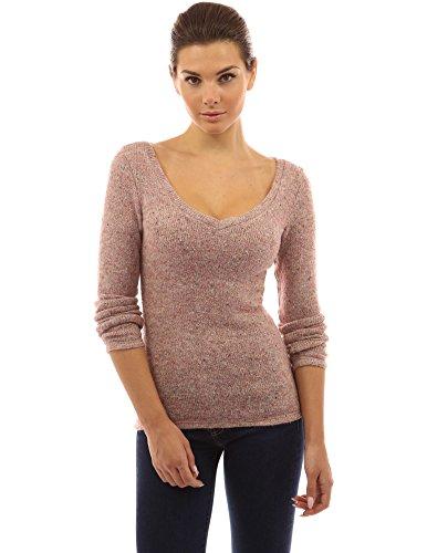 PattyBoutik Donne v pizzo posteriore del collo fasciate maglione maglia erica rosa