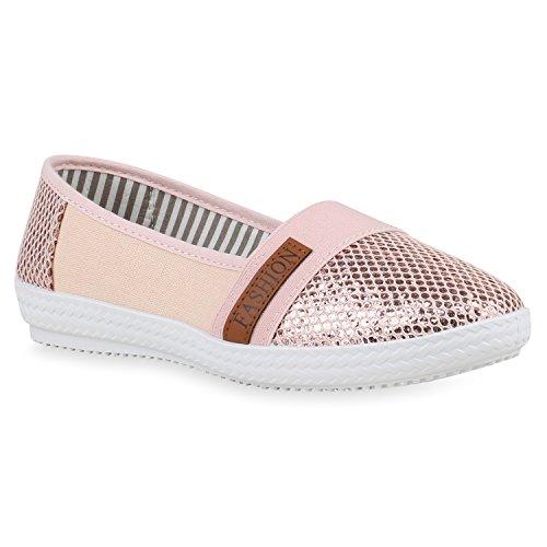 Stiefelparadies Damen Slippers Slip Ons Glitzer Freizeit Schuhe Flats Turnschuhe 156267 Rose Gold 37 Flandell