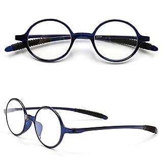 VEVESMUNDO Lesebrillen Damen Herren Lesehilfe Sehhilfe Retro Runde Schmal Flexibel Leicht Nerd Brillen mit Stärke 1.0 1.5 2.0 2.5 3.0 3.5 4.0