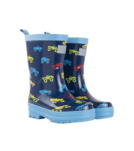 Hatley Rain Boot, Botas de Agua para Chico, Azul (Colourful Monster Trucks 400), 30 EU