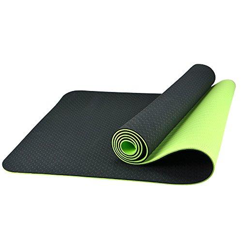BESTEK Tapis de sol camping antidérapant Yoga mat non toxique 6 mm d'épaisseur -Vert & noir