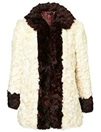 Topshop Ladies Shaggy Colour Block Faux Fur Coat Size 12 14 Free P&P