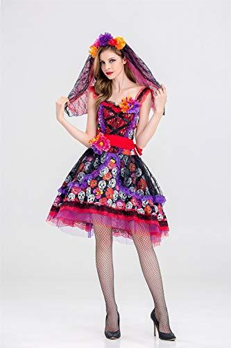 Monster Frauen Sexy Braut Kostüm - MY Halloween Kostüm Gothic Vampir Kostüm Halloween Queen Kleid Dark Ghost Braut Bühnenkleid für Frauen (Size : XXL)