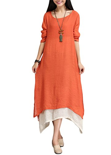 vogstyle-damen-doppel-layered-sommer-maxi-kleid-l-orange-langarm