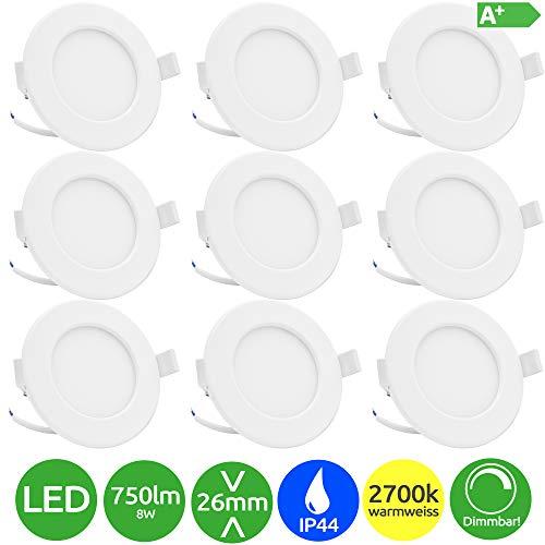 Lumare LED Einbaustrahler Dimmbar 8W 230V IP44 Ultra flach 9er Set Wohnzimmer, Badezimmer Einbauleuchten weiss 26mm Einbautiefe Mini Slim Decken Spot warmweiß