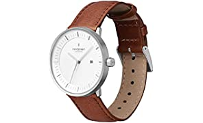 Nordgreen Philosopher Scandinavian Silver Unisex Analog 40mm (Large) Watch with Brown Leather Strap 10017