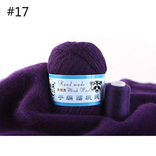 Ovillo de lana de visón suave de 50 g, tejido a mano, cachemira de lujo, ganchillo, bufanda de ganchillo 17