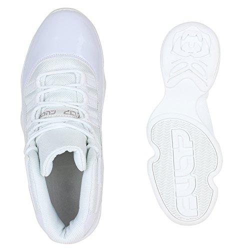 Damen Herren Cultz Basketballschuhe Sportschuhe Sneakers Weiss Amares