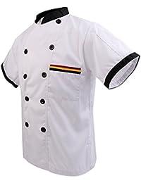 Gazechimp Camiseta Corta de Cocina con Bolsillo Pluma Unisex Uniformes de Cocinero de Restaurante Negro/Blanco 5 Tamaños