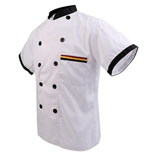 en Kochjacke Kurzarm Poly-Baumwolle Küche Hotel Kochkleidung Uniform Berufsbekleidung mit knöpfen - Weiß, 3XL (Uniformen Für Frauen)